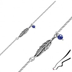 925 silver ankle bracelet - patina feather, blue ball, oval rings