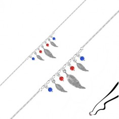 Ankle bracelet made of 925 silver - three feather pieces, four balls of red and blue colour