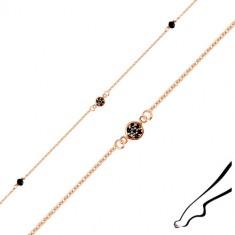 Ankle bracelet made of 925 silver of copper colour - zircon flower, black zircons