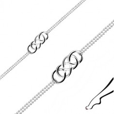 925 silver ankle bracelet - Celtic knot, dual Army chain