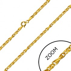 Yellow 14K gold chain - infinity motif and flat oval rings, 450 mm