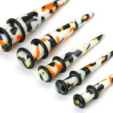 White ear plug, black - orange splashes