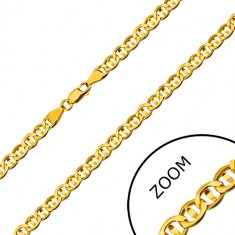 Yellow 585 gold chain - flat rings seperated with a grain, 600 mm