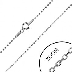 14K white gold chain - glossy oval rings, Rolo chain style, 450 mm