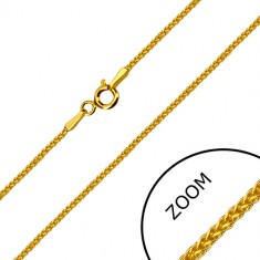 Yellow 14K gold angular chain - rings densely intertwined, spring ring clasp, 500 mm