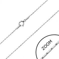 White 14K gold chain - rectangle elements, angular chain, 500 mm
