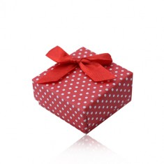 Red gift box for ring or earrings, white dots, bowknot