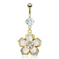 Stainless steel belly piercing of gold colour - hanging Hawaiian flower, white petals, clear zircons