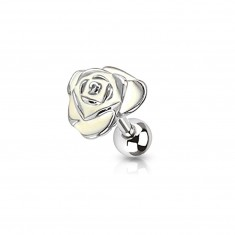 Stainless steel tragus piercing - rose adorned with glaze of cream colour