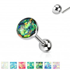 316L stainless steel tongue piercing - opal imitation, various coloured combination