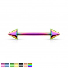 Stainless steel piercing - two spikes, titanium surface finish, various coloured combinations, 7,5 mm