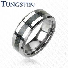 Tungsten ring with stripe, fiber motive