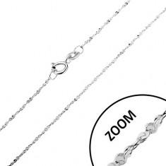 Chain made of 925 silver - twisted line, spirally joined links, width 1,2 mm, length 550 mm
