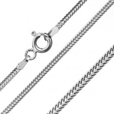 Chain made of 925 silver, flattened oblique links, width 1,6 mm, length 550 mm