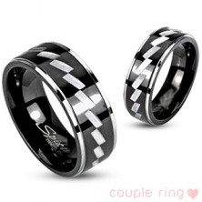 Ring for couple made of surgical steel - engraved pattern