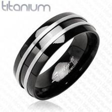 Black titanium ring - two narrow silver stripes