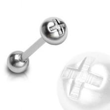 Semicircle screw tongue barbell