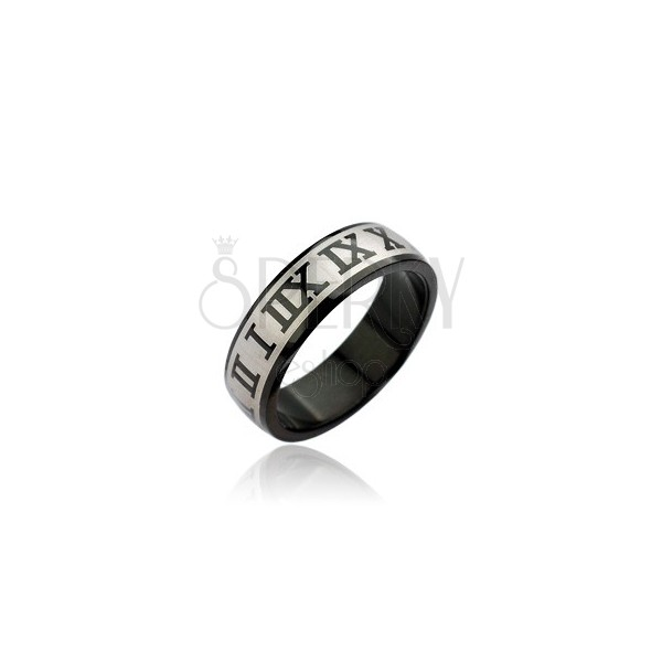 Surgical steel ring - black colour, Roman numerals