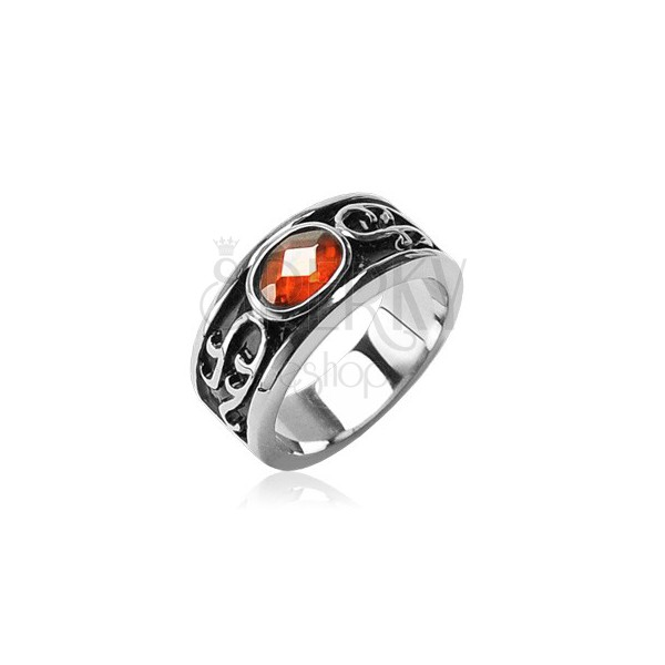 Stainless steel ring - orange rhinestone and ornaments