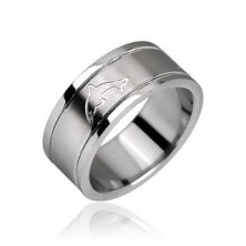 Stainless steel ring - shiny with engraved dolphin motive