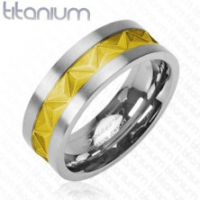 Titanium ring in silver color with decoration in gold color