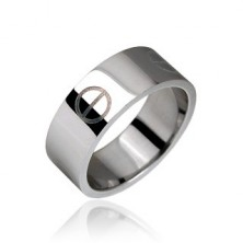 Smooth steel ring in silver colour, pill pattern