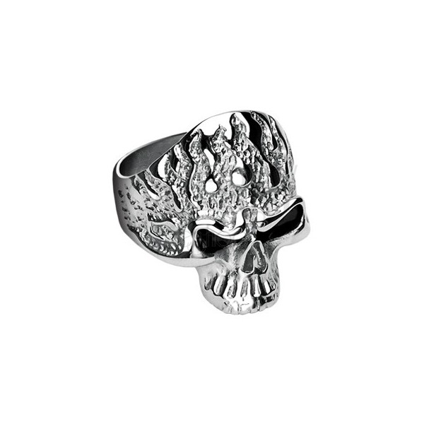 Stainless steel ring - skull with flames