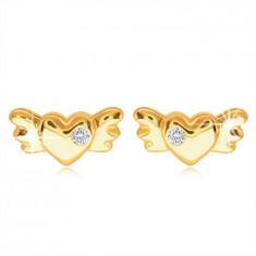 9K Golden stud earrings – full symmetrical heart with wings and a clear zircon