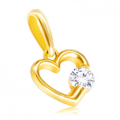 9K Yellow gold pendant – glossy contour of a heart with clear zircon