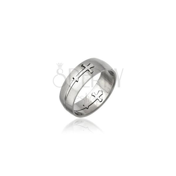 Stainless steel ring - engraved cross