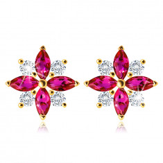 375 Golden earrings – a flower with pink-red and clear zircon petals