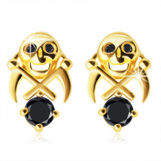 375 Golden earrings – a skull with two sickles, black shade zircons