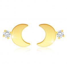 14K Gold earrings – glossy half-moon shaped, a clear zircon