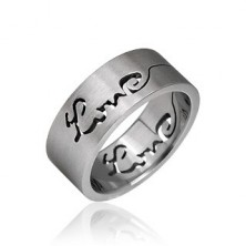Surgical steel ring with cut-out LOVE inscription