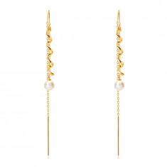 585 Golden dangling earrings – glossy spiral, white coloured pearl