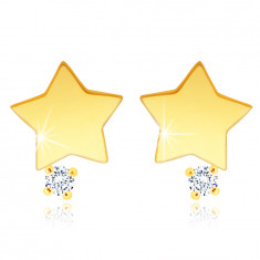14K Yellow gold stud earrings – a star with a clear zircon