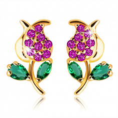 14K Yellow gold earrings – a tulip with a stem and leaves, green and pink zircons