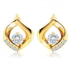14K Gold earrings – clear zircon lined with a wavy teardrop