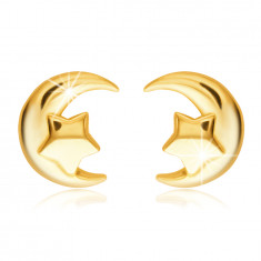 585 Golden stud earrings – crescent-shaped with a pentacle star