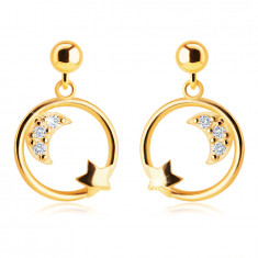 14K Yellow gold earrings – a half moon with zircons and a star in the circle