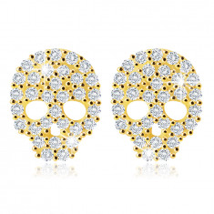 14K Yellow gold earrings – a skull with zircons in clear hue