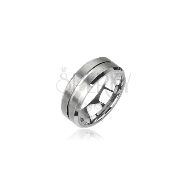 Polished tungsten ring in silver color