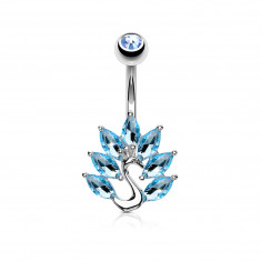 Rhodium plated steel belly button piercing – a peacock with clear zircon tail