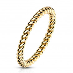 Steel ring in golden colour – twisted contour in the shape of rope, 2mm