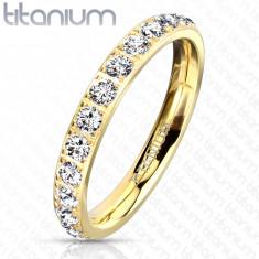 A Titanium ring in a golden shade – glittery clear zircons, 3 mm