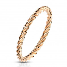 A steel ring in copper colour – strips twisted into the shape of rope, 2mm