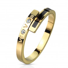 A Steel ring in golden colour – a black strip, two clear zircons, Roman numerals, 2 mm