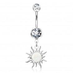 A steel belly button piercing in silver hue – glittery zircon, the sun