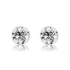 14K White gold earrings – a clear round zircon in a basket, 4 mm