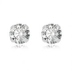 14K White gold earrings – a round clear zircon, studs, 3 mm